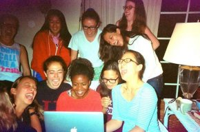 Laughing, again with my a cappella group, over a HILARIOUS YouTube video