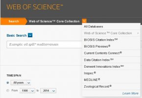 Screencap of Web of Science Databases