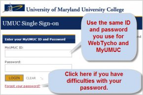 UMUC Single Sign-on screen